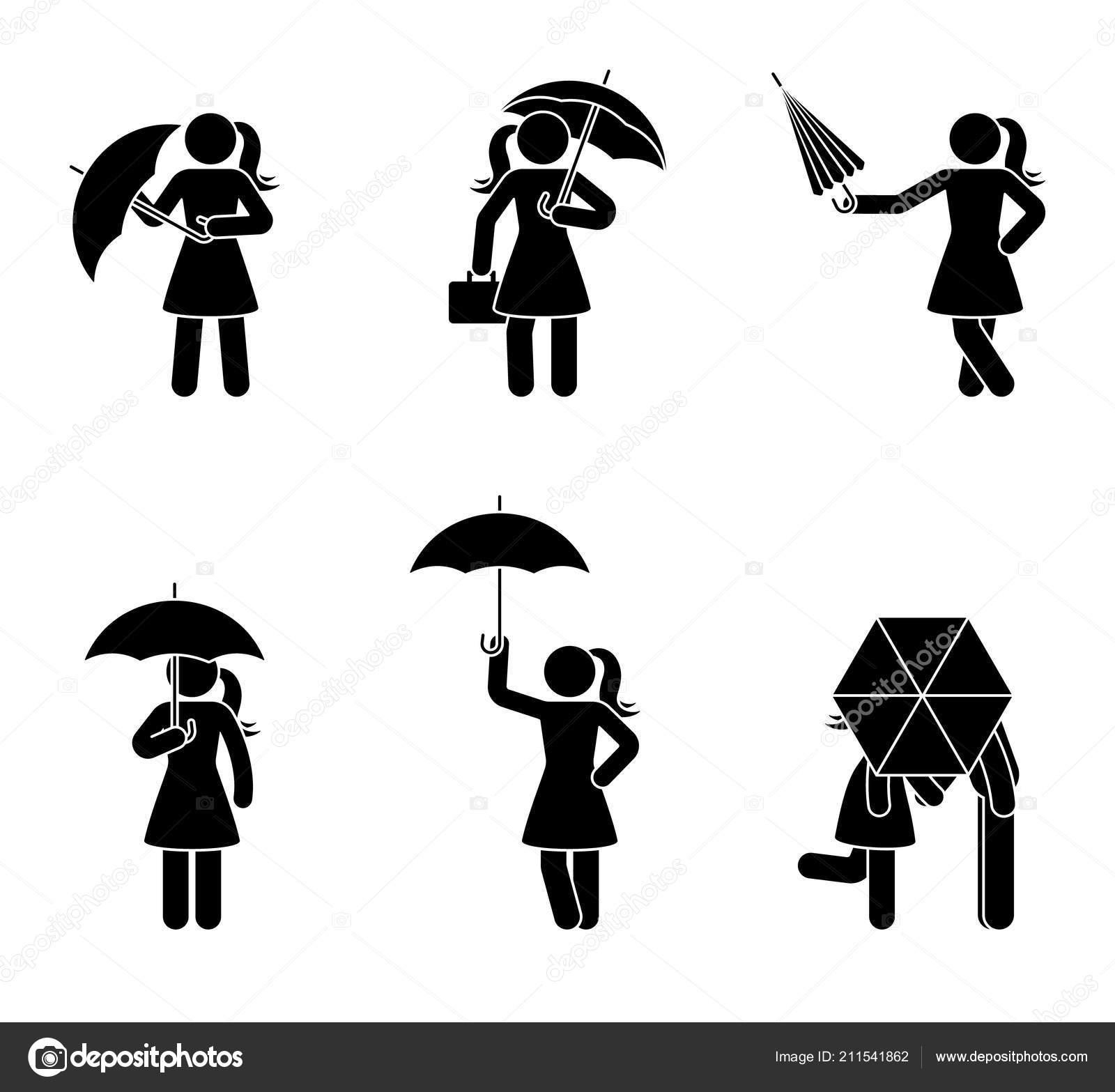 Strichmännchen Frau Und Paar Mit Regenschirm Icon Set Frauen Unter