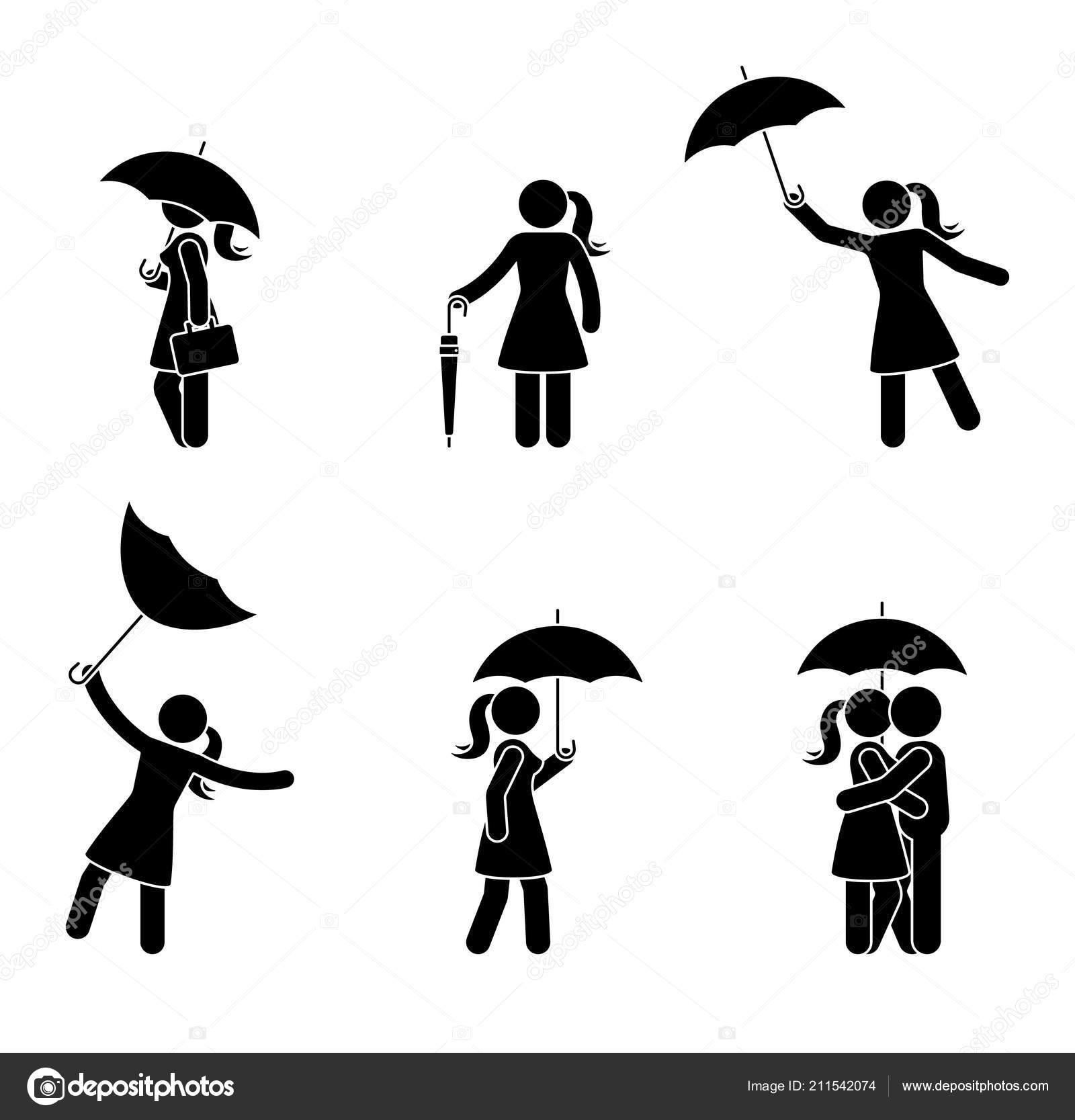 Strichmännchen Frau Mit Verschiedenen Schirmsymbol Festgelegt