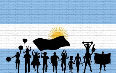 Argentinian supporter silhouette in front of brick wall with Argentina flag. All the objects, silhouettes and the brick wall are in different layers.