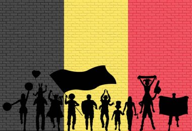 Belgian supporter silhouette in front of brick wall with Belgium flag. All the objects, silhouettes and the brick wall are in different layers.