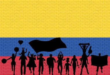 Colombian supporter silhouette in front of brick wall with Colombia flag. All the objects, silhouettes and the brick wall are in different layers.