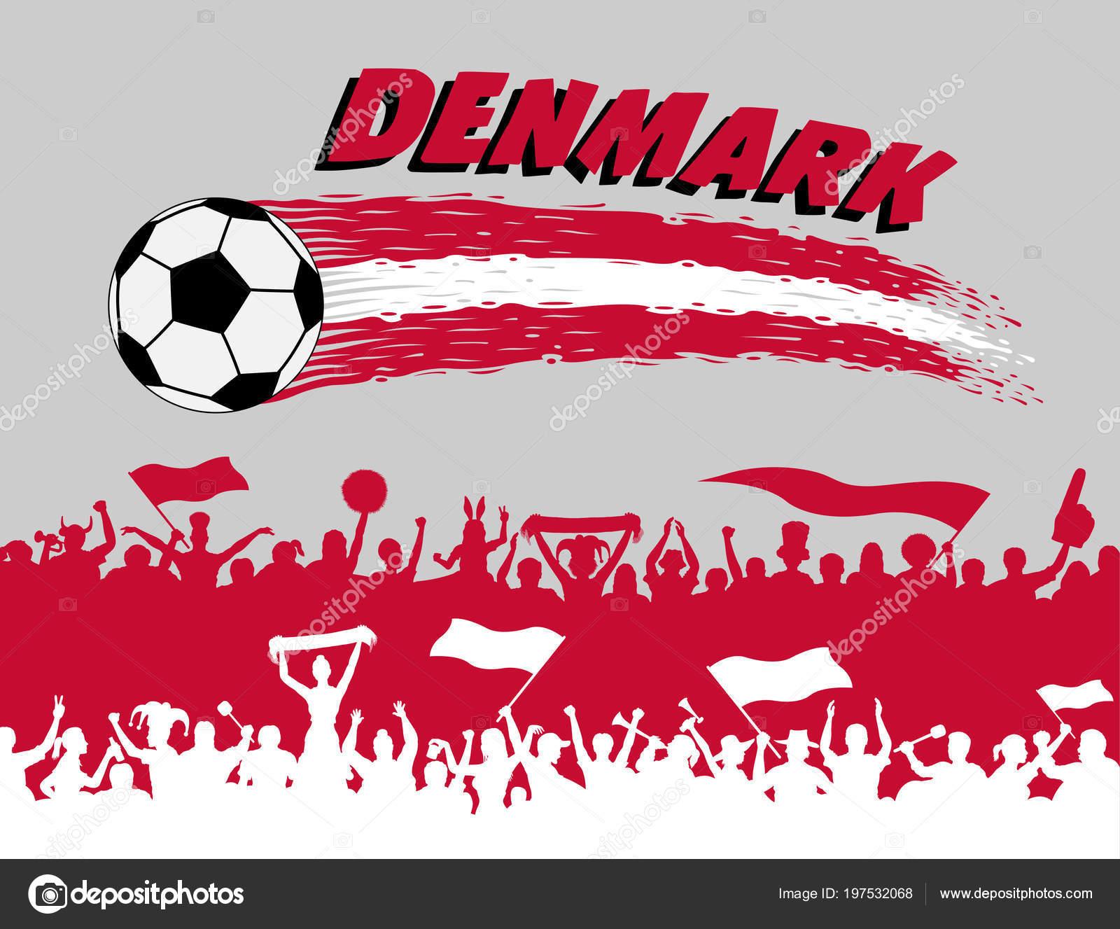 3de62e424fd54 Cores da bandeira Dinamarca com bola de futebol e torcedores dinamarqueses  silhuetas. Todos os objetos