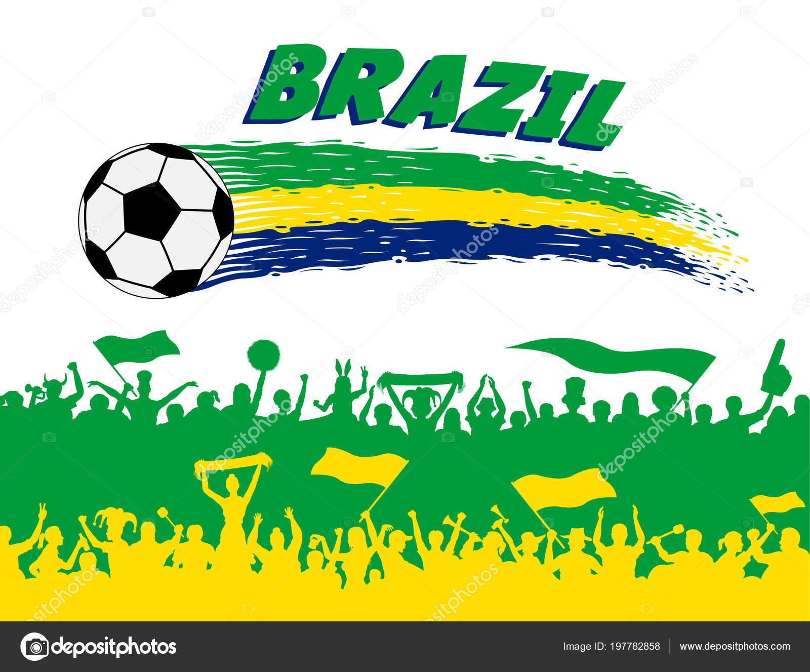 9292c08a74744 Cores da bandeira Brasil com bola de futebol e silhuetas de adeptos  brasileiros. Todos os objetos