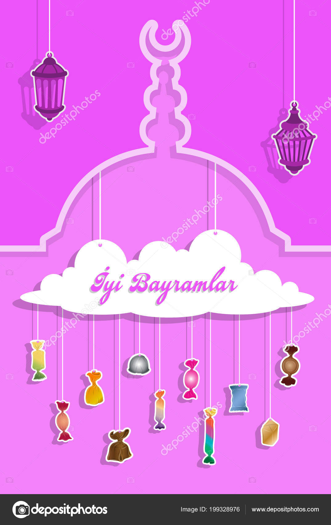 Turkish bayram greeting paper cut out candies all objects different turkish bayram greeting with paper cut out candies all the objects are in different layers and the text types do not need any font m4hsunfo