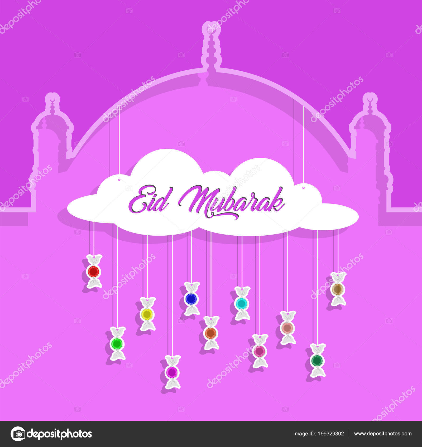 Eid mubarak greeting paper cut out bonbons all objects different eid mubarak greeting with paper cut out bonbons all the objects are in different layers and the text types do not need any font vector by brushpiquetr m4hsunfo