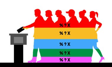 voters crowd silhouette with election results of political parties percentages. All the silhouette objects, texts and background are in different layers and the text types do not need any font.