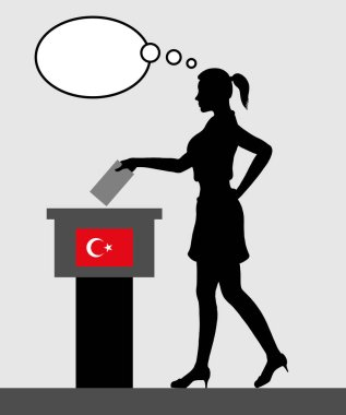 Turkish voter young woman voting for election in Turkey with thought bubble. All the silhouette objects and backgrounds are in different layers.