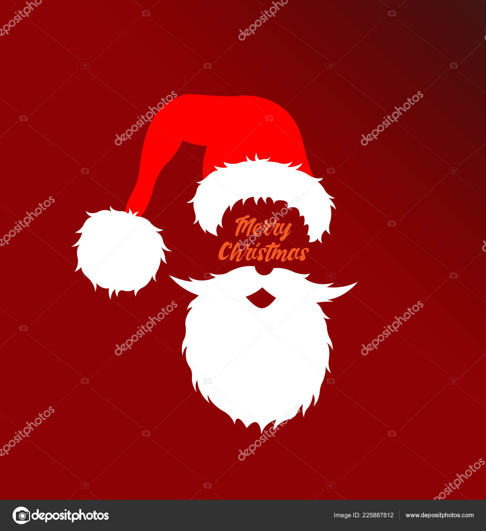 Santa Claus Head Cartoon Merry Christmas Message All Objects ...