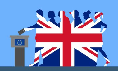 British voters crowd silhouette like Unidet Kingdom flag by voting for Brexit. All the silhouette objects, and background are in different layers.
