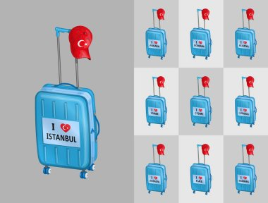 Tourist baggages for travel to Turkey touristy cities with Turkish cap. All the objects are in different layers and the text types do not need any font.