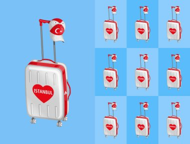 Wheeled bags for travel to Turkey touristy cities with Turkish cap. All the objects are in different layers and the text types do not need any font.