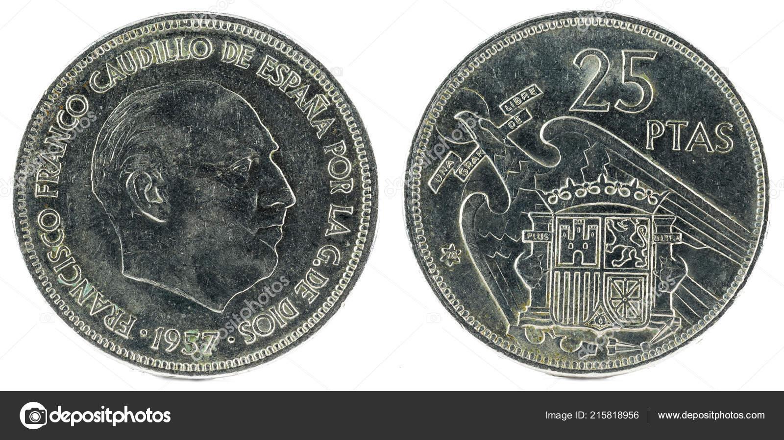 Alte Spanische Münze Von Peseten Francisco Franco Jahr 1957 Stern