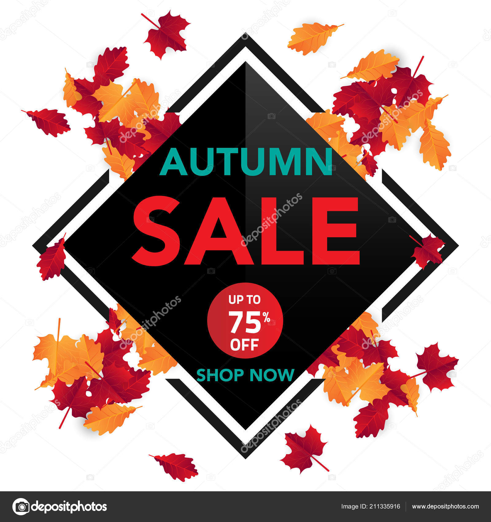autumn sale banner template leaves fall leaves shopping sale banner