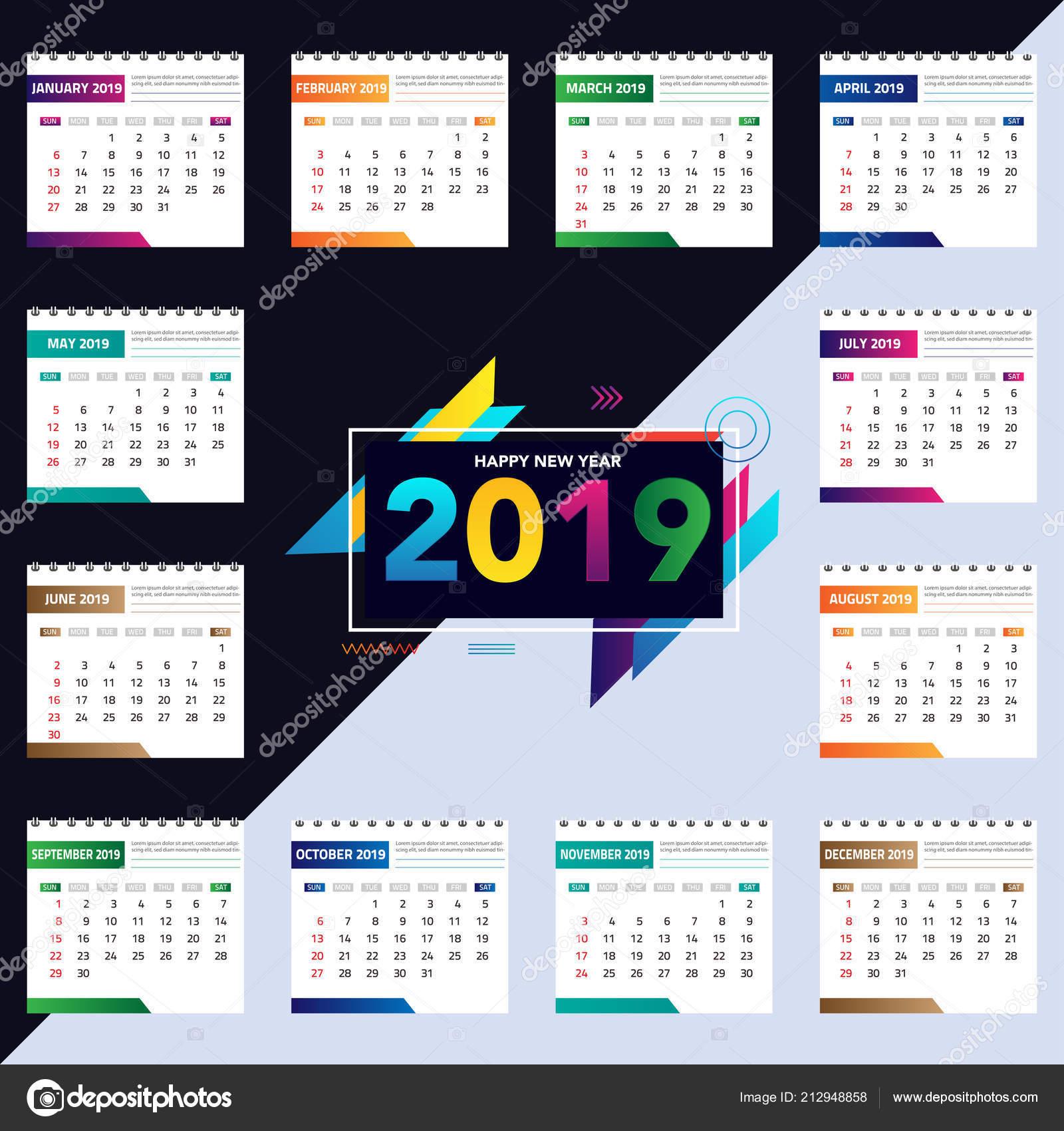 Template Calendrier 2019.Calendar 2019 Colorful Set Set Desk Wall Calendar Template