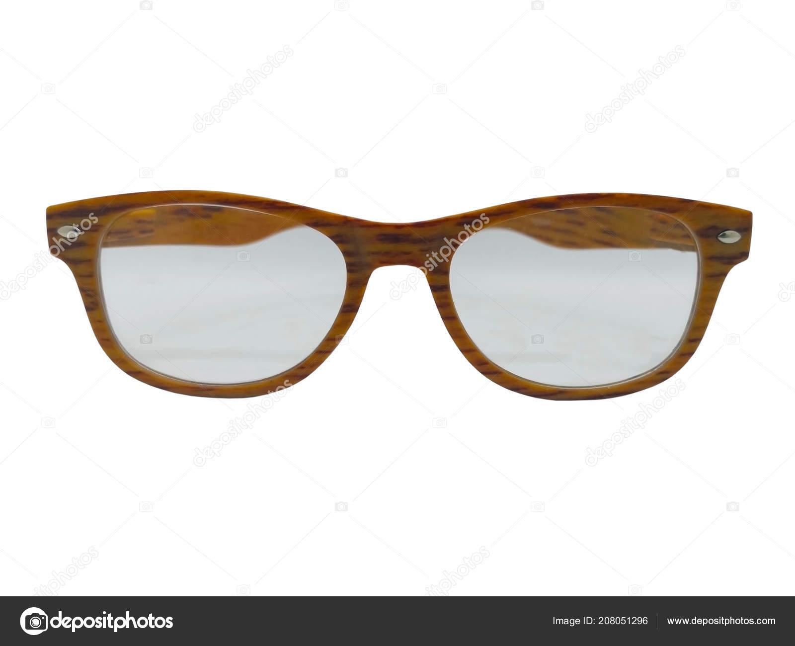 93db8489ee Lente transparente de anteojos con marco de madera. Aislado sobre fondo  blanco, copia espacio y trazado de recorte — Foto de  rujirathumdumrong@gmail.com| ...