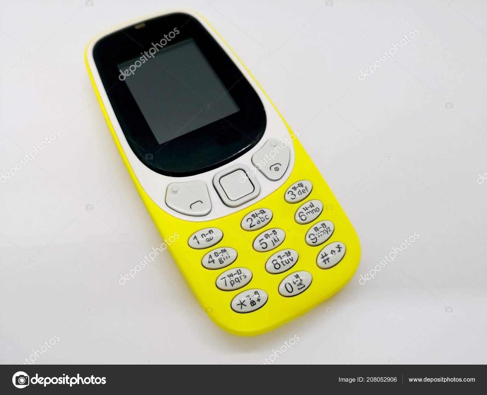 Telefono Cellulare Giallo Classico Concetto Comunicazione Isolato