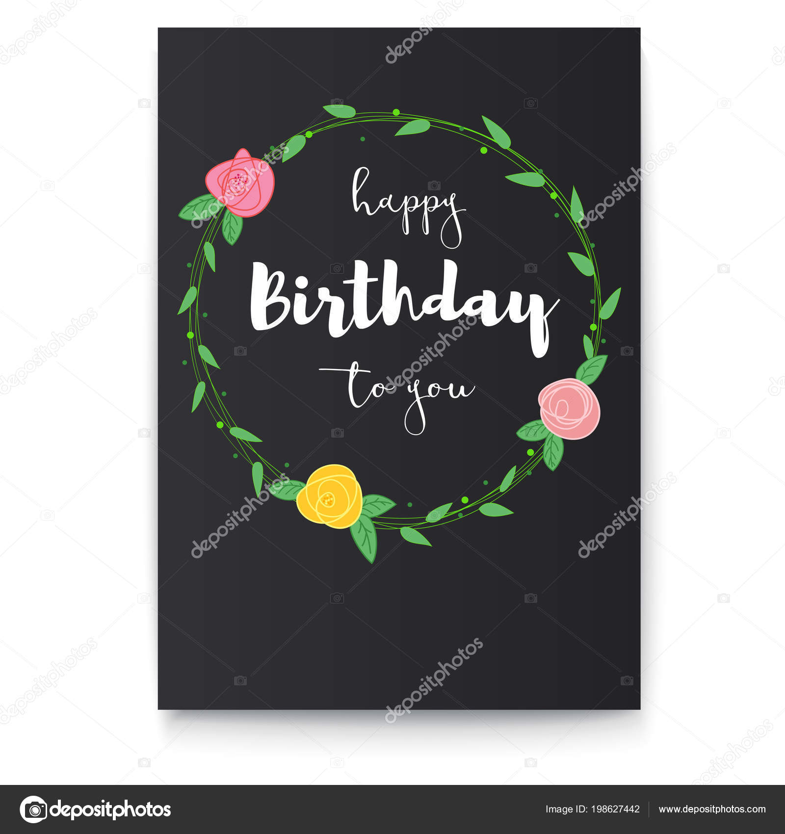 Handwritten lettering inscription of happy birthday on black handwritten lettering inscription of happy birthday on black background poster with a congratulatory inscription and picture of flowers with foliage izmirmasajfo