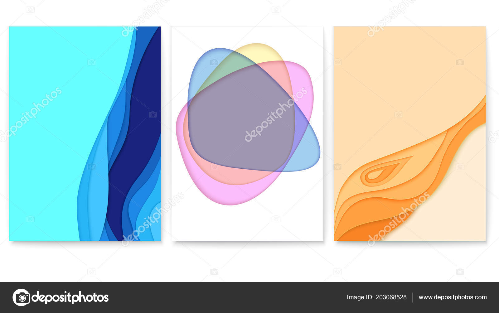 Vector Layout With Cut Out Paper Shapes Poster Carving Art Wavy Forms Template Of For Cover Business Card Flyers 3D Illustration