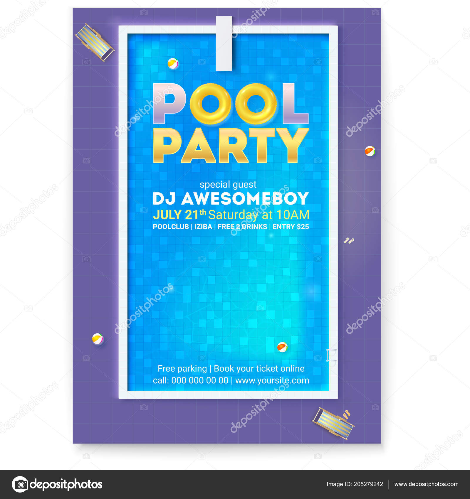 Party in swimming pool. Poster with advertising message and text ...