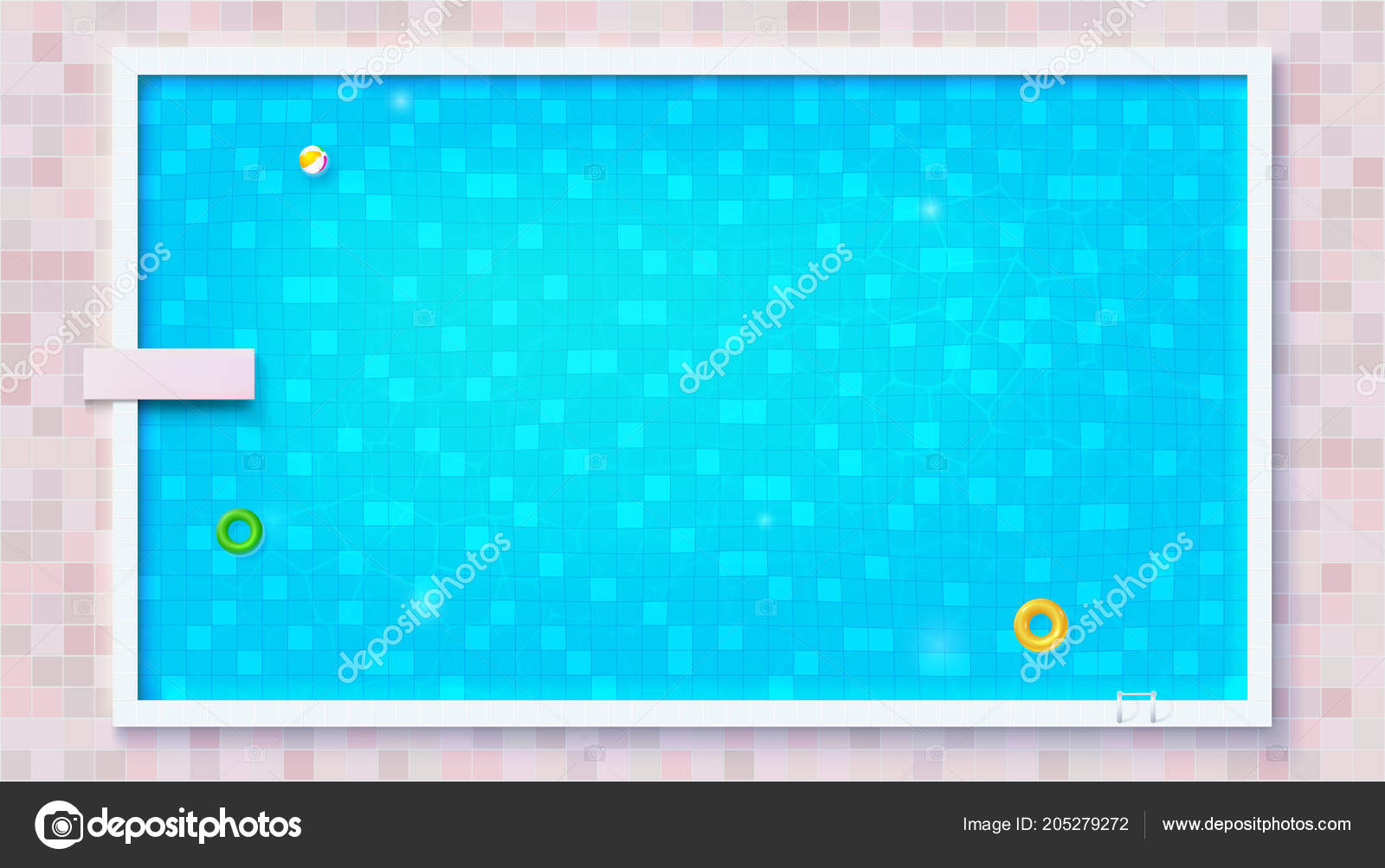 Blue ripped water in swimming pool, top view. Big outdoor ...