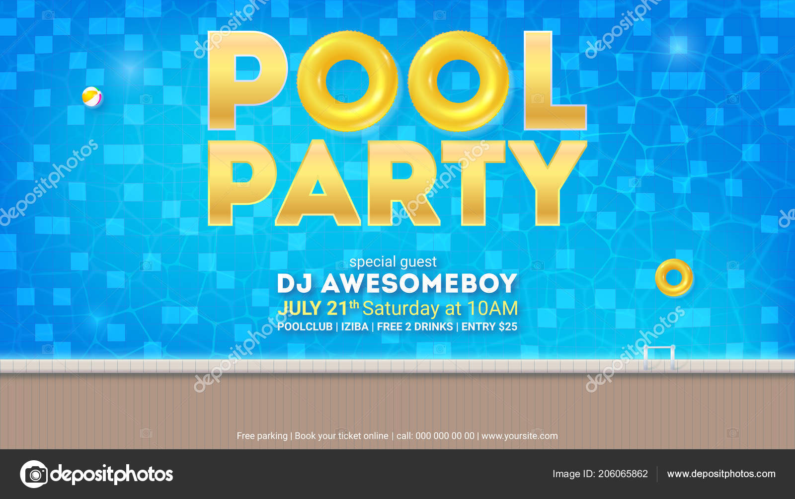 Summer party in pool. Invitation for event with design of ...
