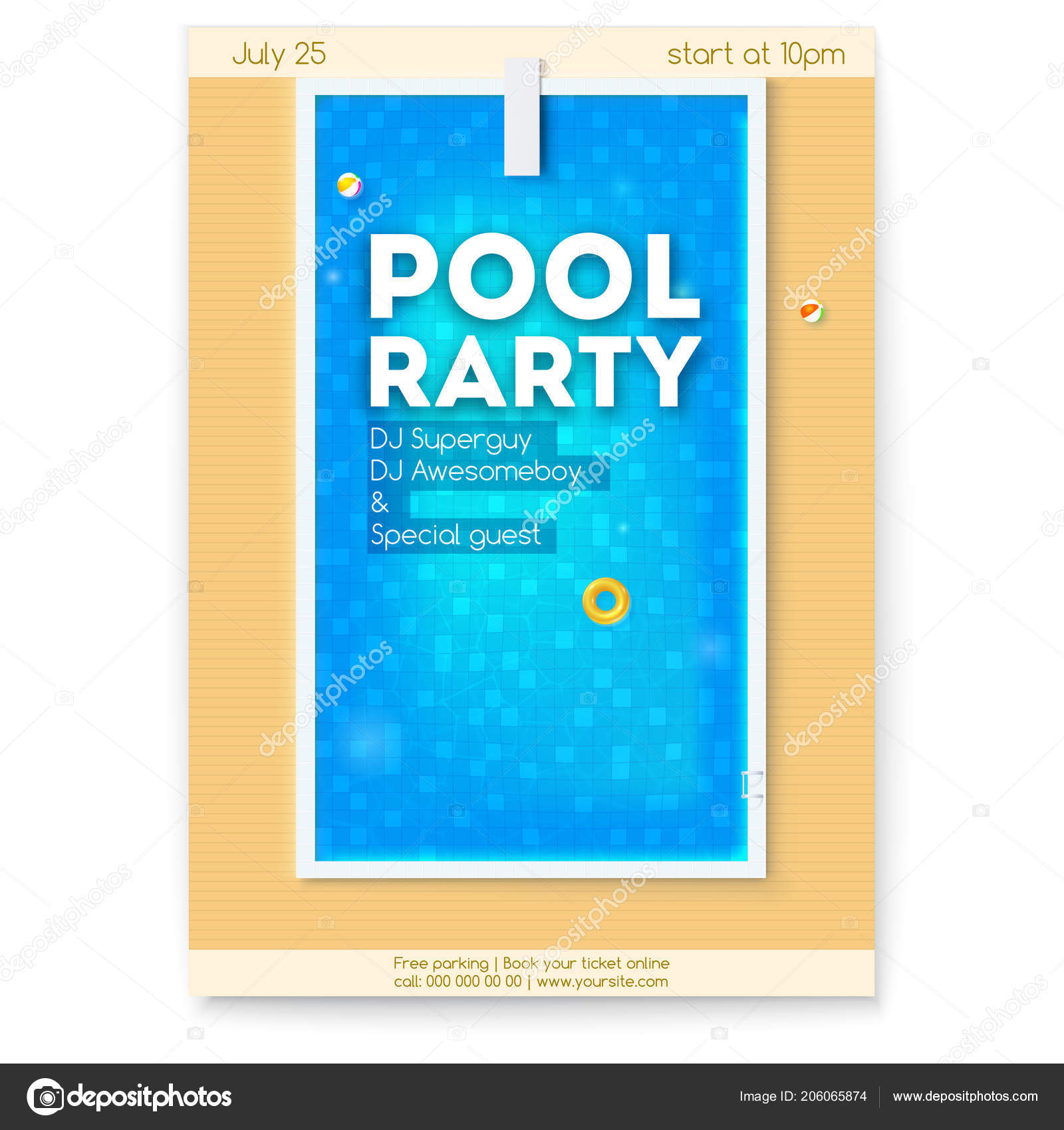 Book Cover Design Free Download Software ~ Summer party in swimming pool poster with design of text about