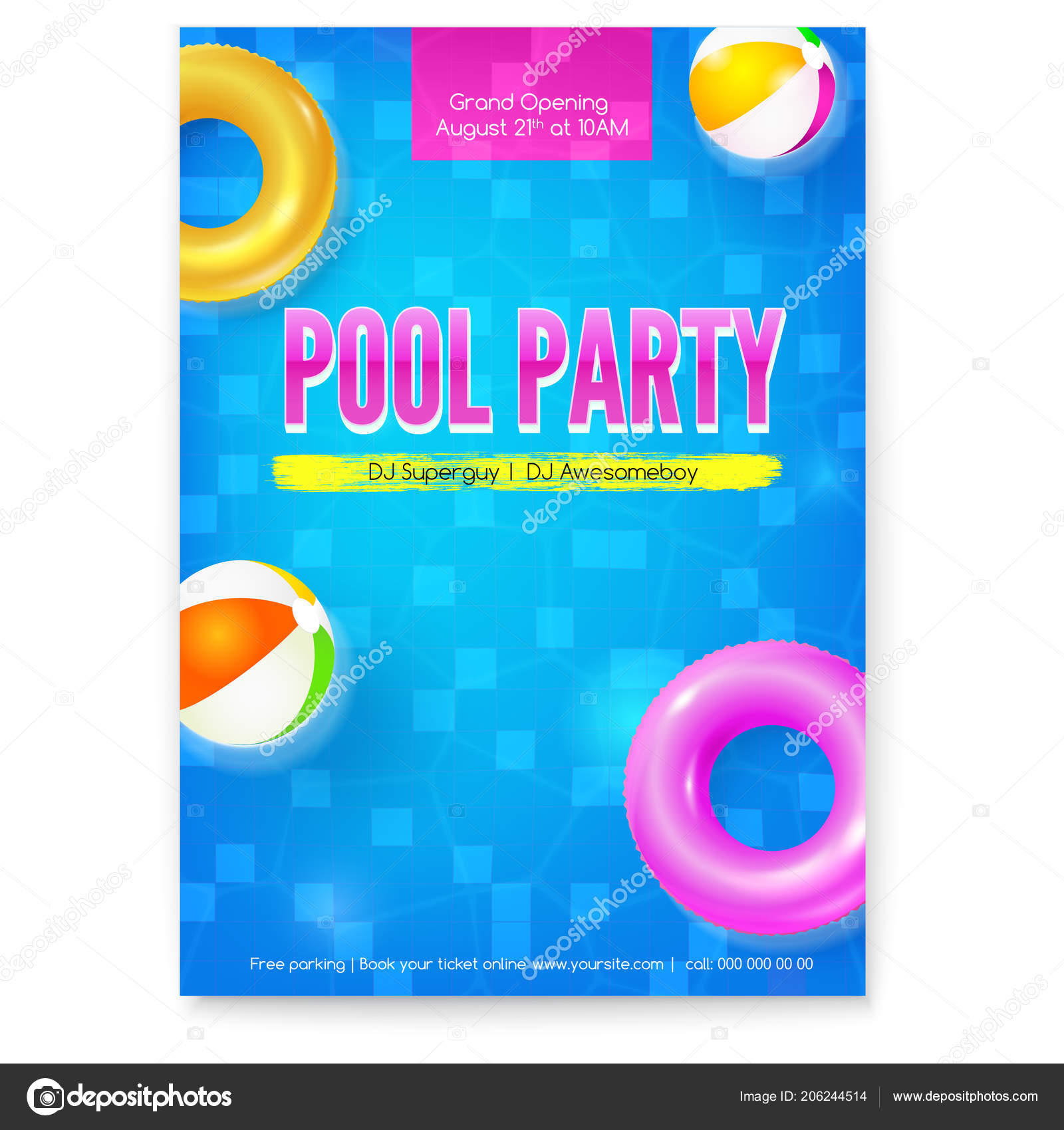 invitation on summer party in swimming pool poster with design of