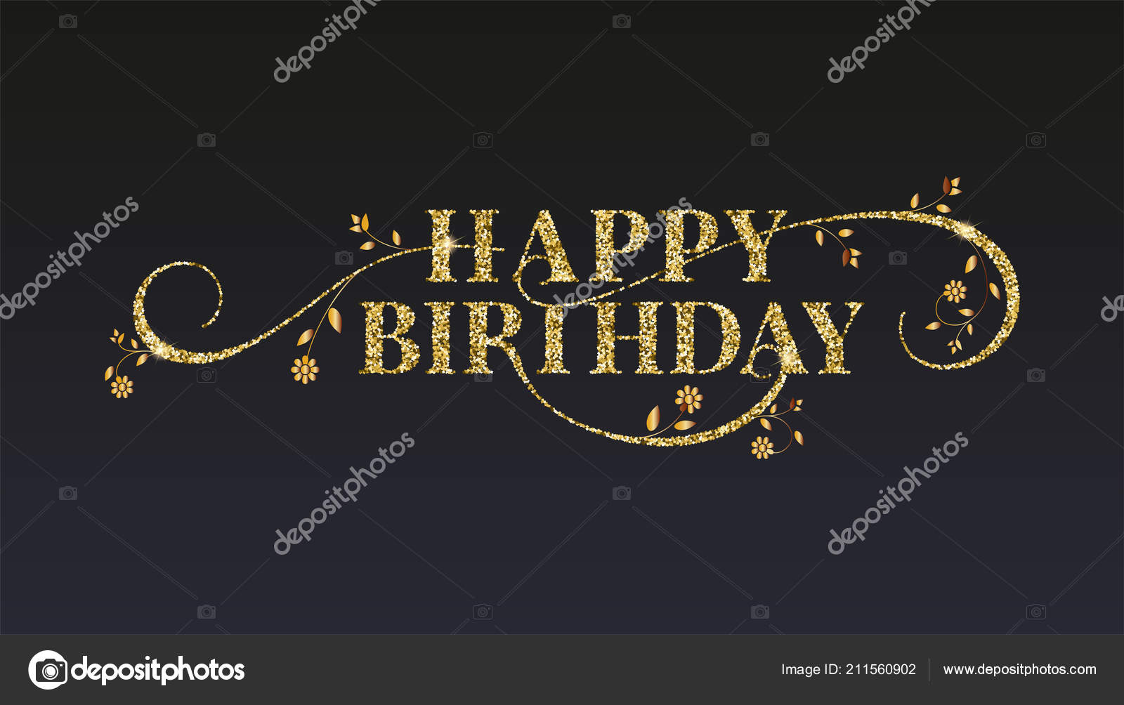 Happy Birthday Greetings Card Golden Glitter Texture On Vintage Text Design Of Message With Sparkling Dust Hand Drawing Flowers Black Background