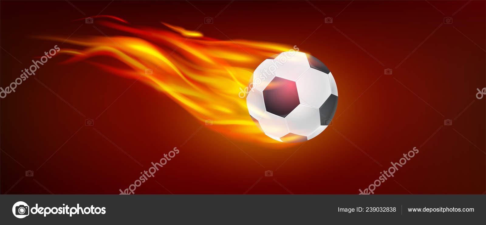 Realista vuelo ardiente bola de fútbol clásico. Icono de balón de fútbol en  el fuego para el partido de fútbol caliente. 3D ilustración vectorial b6238a46af098