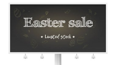 Easter sale limited stock. Billboard with holiday ad on chalk blackboard. Handwritten text on background of pattern in doodle style. Blackboard with drawing for holidays sale actions, 3d illustration
