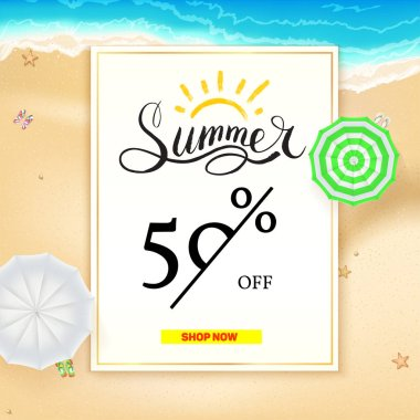 Summer super sale banner. Fifty percent discount. Realistic sun umbrellas on hot yellow sand on the beach of sea. Seashore on background. Vector illustration for shop and market actions