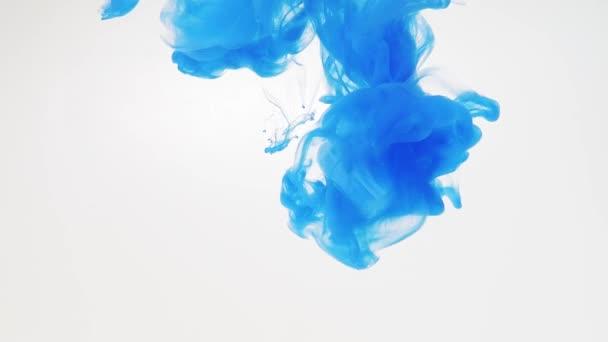 Modrá Akrylová barva klesla do vody a nahrávána při rozpouštění, těsně po ránu. Rozmazané pozadí. Abstraktní spirála modrého nátěru v tekutině. Abstraktní akrylové šplouchání ve vodě. Inkoust ve vodě.