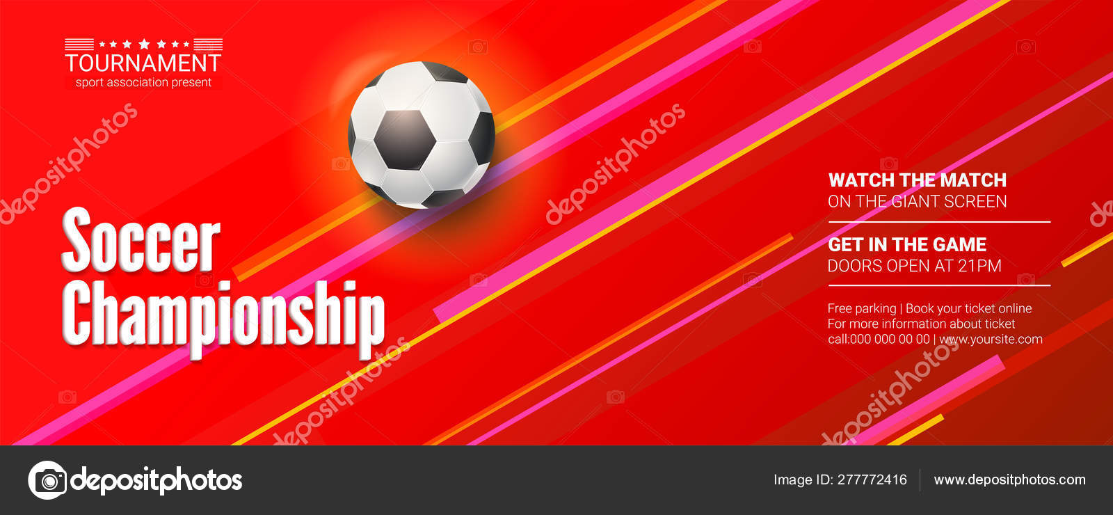 Vector Banner For The Soccer Championship Stylish Dynamic Background With Realistic Three Dimensional Ball For Play In Football Template For Poster For Sport Events Stock Vector C Master Erik 277772416