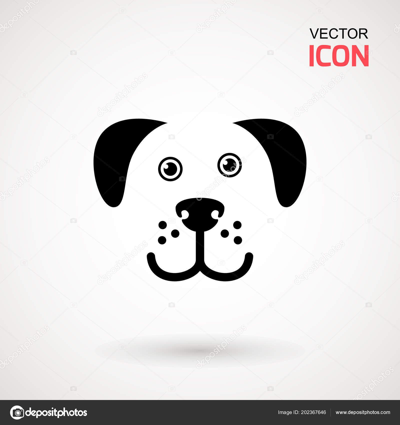 Dog Head Icon Flat Style Cartoon Dog Face Vector