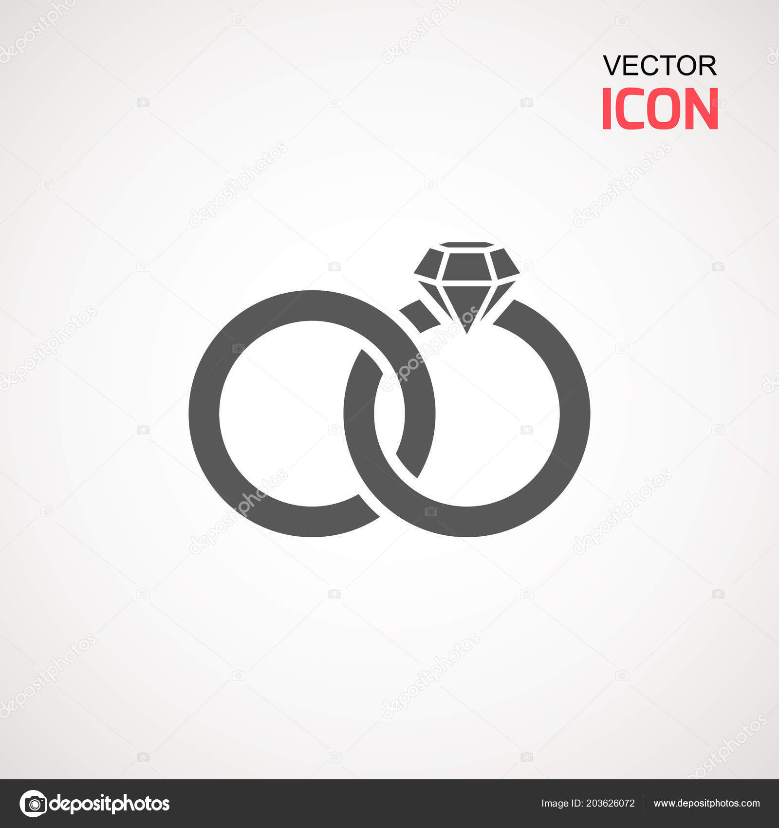 Wedding Rings Icon On White Background Vector Diamond Ring