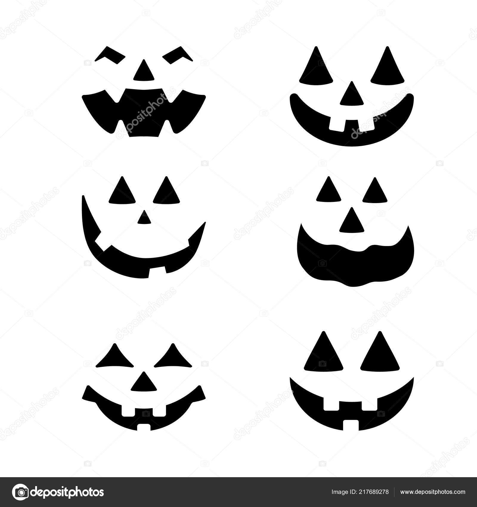 Sjabloon Pompoen Halloween.Halloween Pompoen Gezichten Iconen Set Enge Gezichten