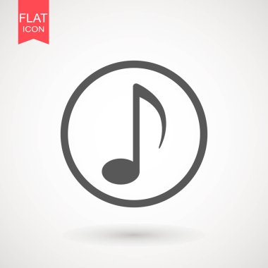 Note flat vector icon. Music sign symbol