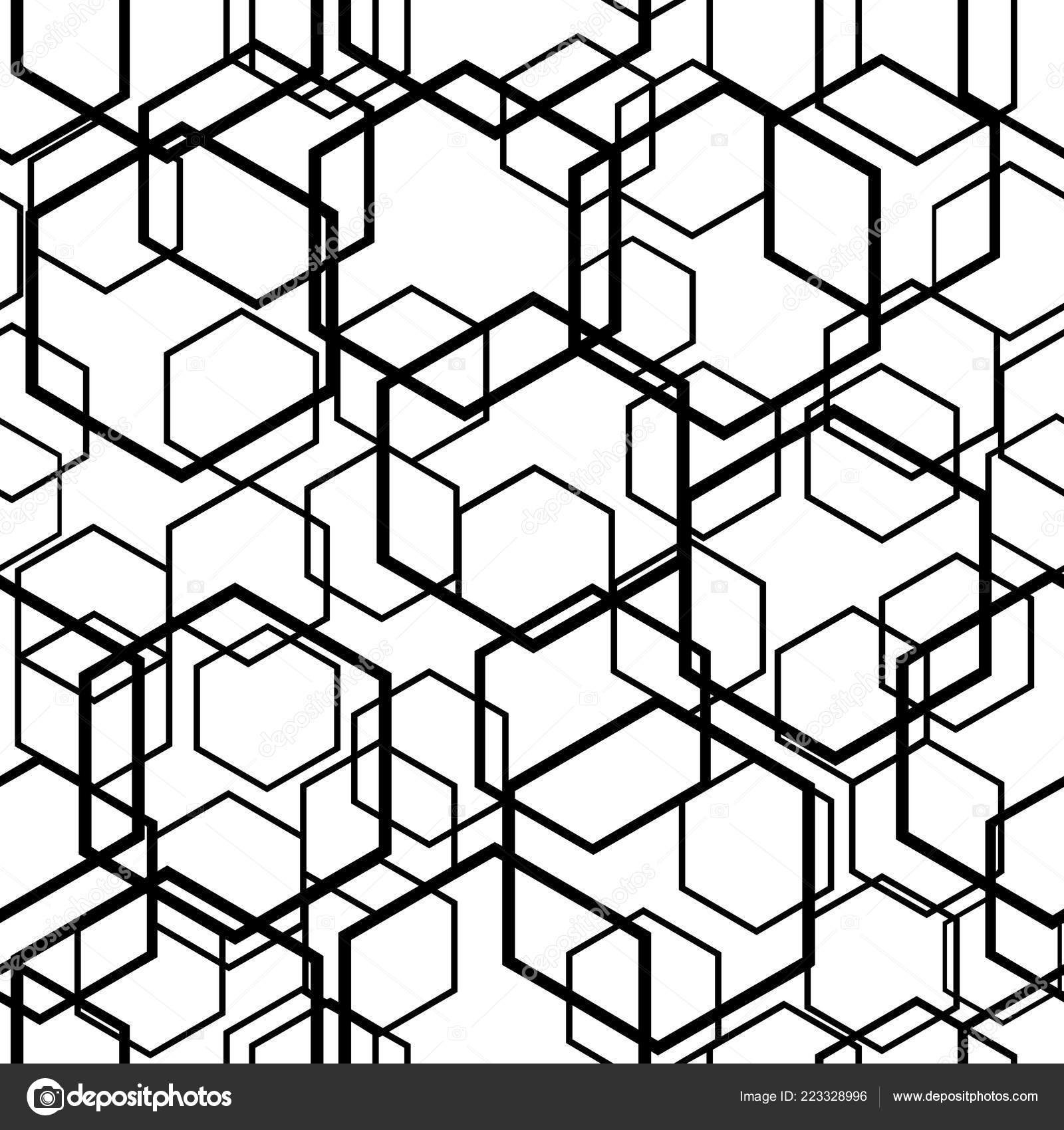 Hexagon Seamless Pattern Vector Background Black White Color Stock Vector C Aygunaliyeva 223328996