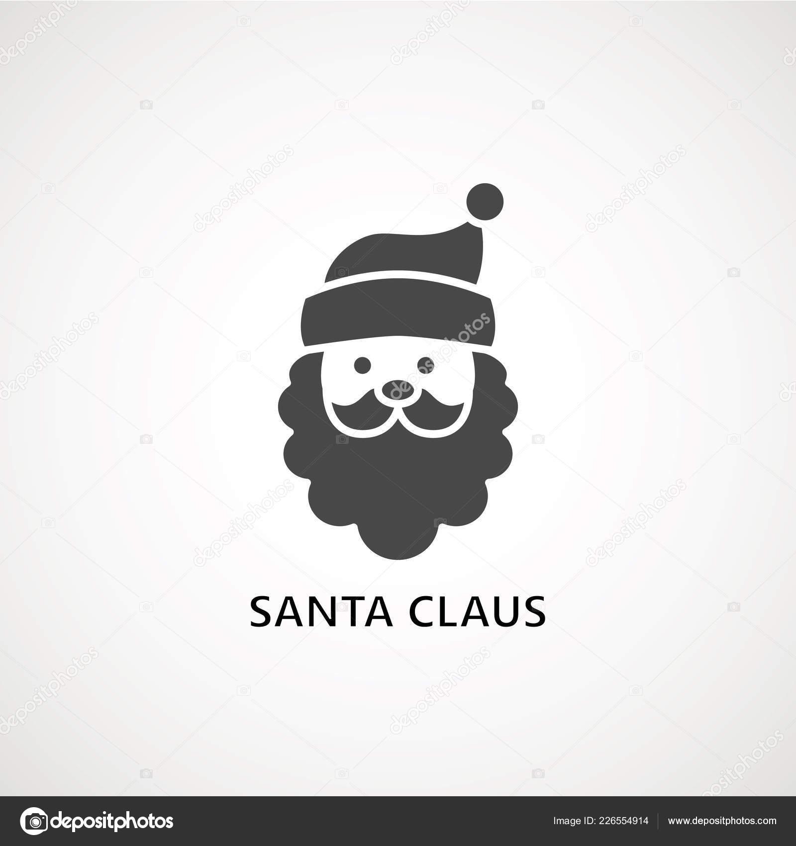 b22887173c6 Santa claus face beard moustache happy xmas christmas new year vector icon  black on white background