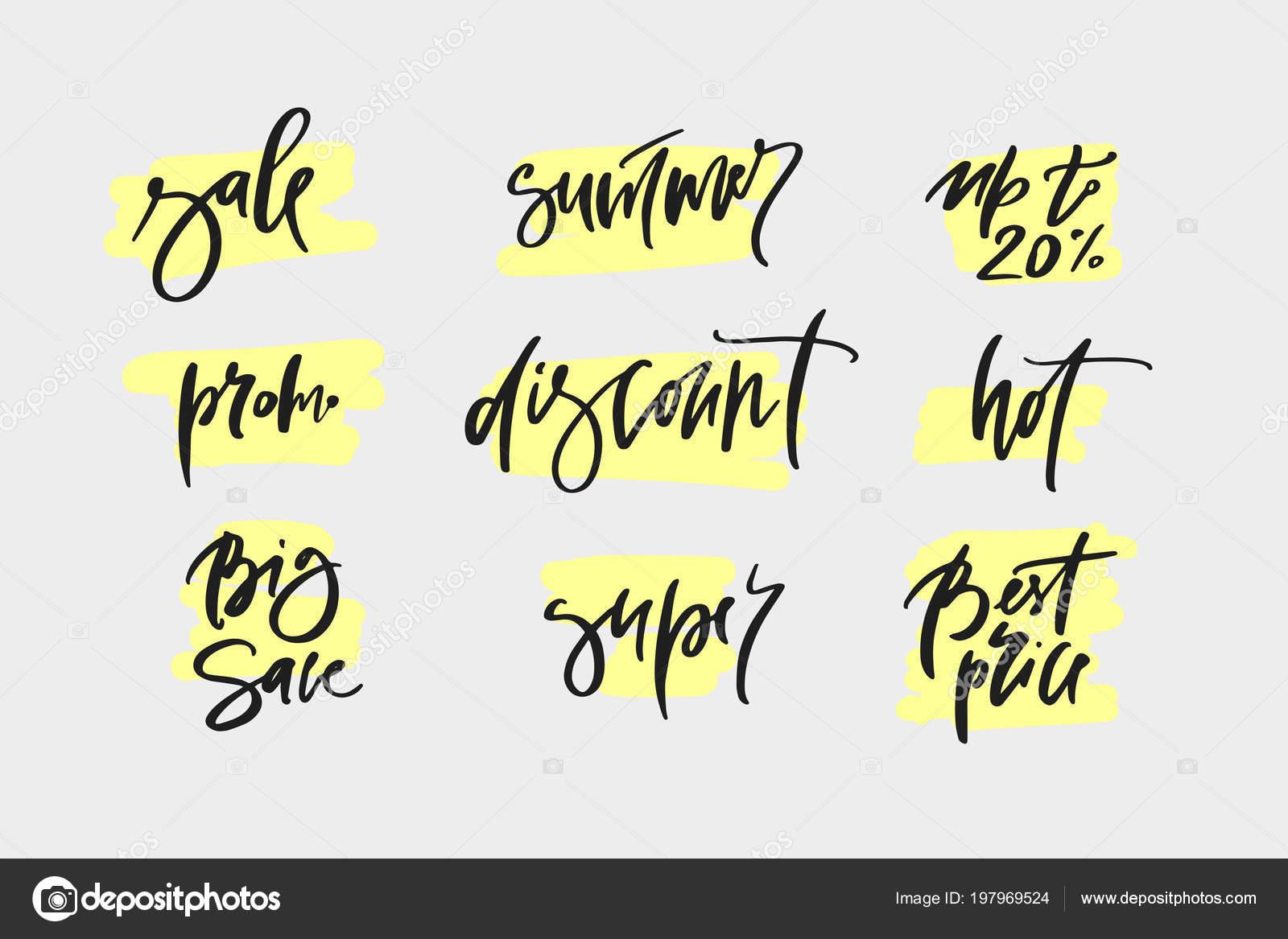 vector hand drawn promotional design words big sale summer promo
