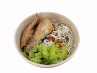 Rice Vermicelli with soy sauce soup and braised Chicken and boiled gourd