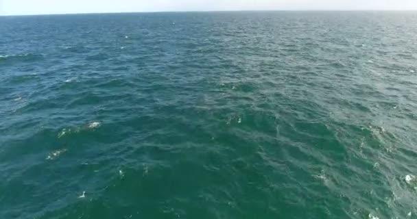 Magnifecent oceán. Neomezený oceán shot s helikoptéra, krásné mořské vlny stříkající. 4k