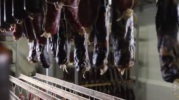 Maso a klobása výroba. Zpracované masné výrobky do chlazeného skladu uzenářského závodu. Uzené klobásy na regály ve skladu v továrně na zpracování masa. 4k