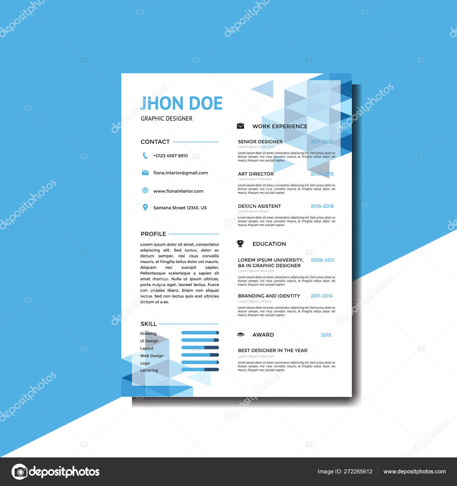 Modern Blue Resume Background Template Stock Vector