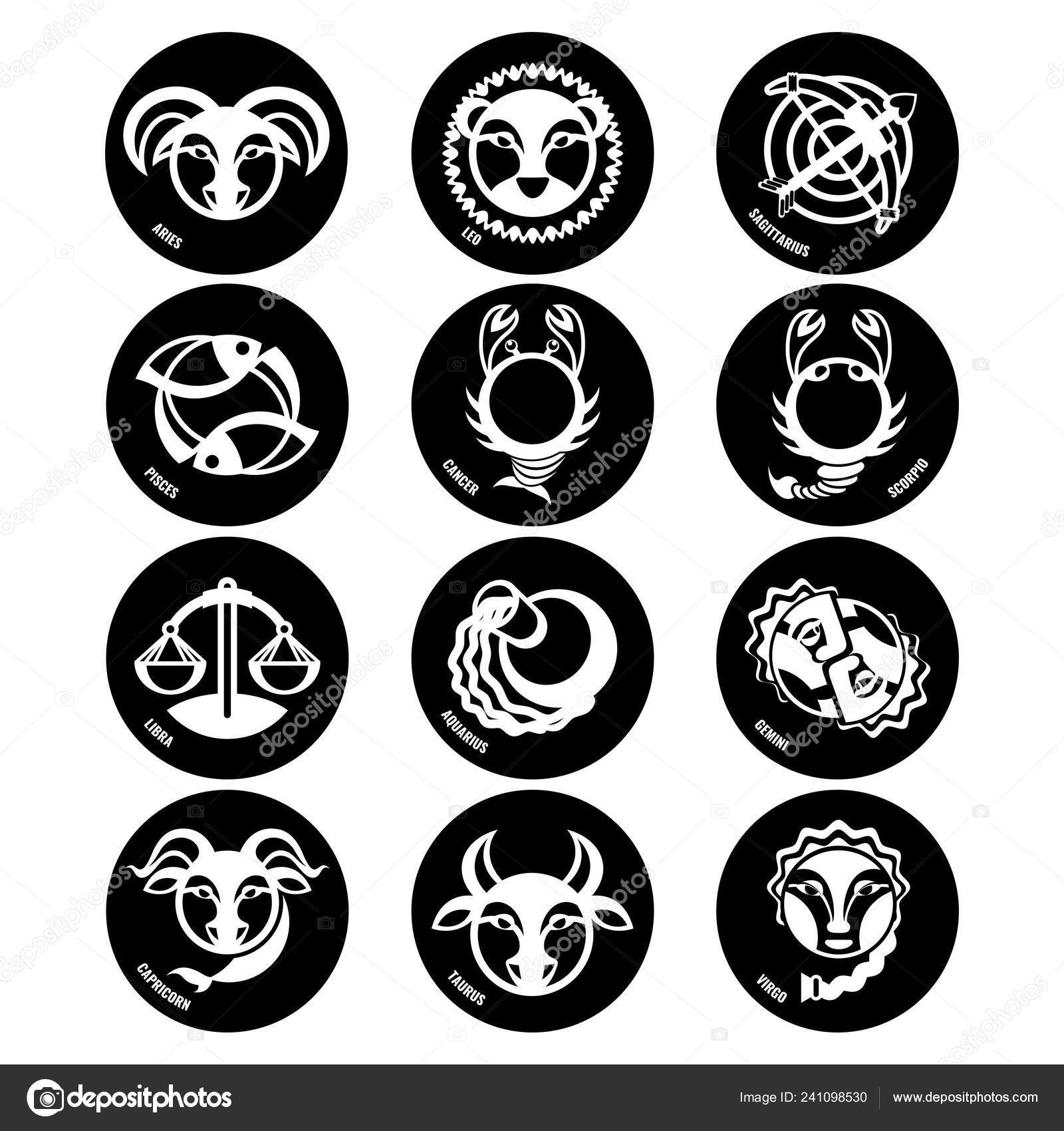 Astrology Symbols Zodiac Signs Vector Isolated Icons Stock Vector