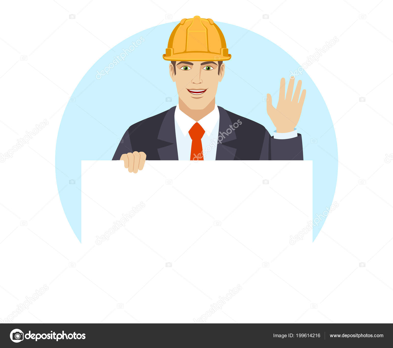 Businessman construction helmet holding white blank poster greeting businessman construction helmet holding white blank poster greeting someone his stock vector m4hsunfo