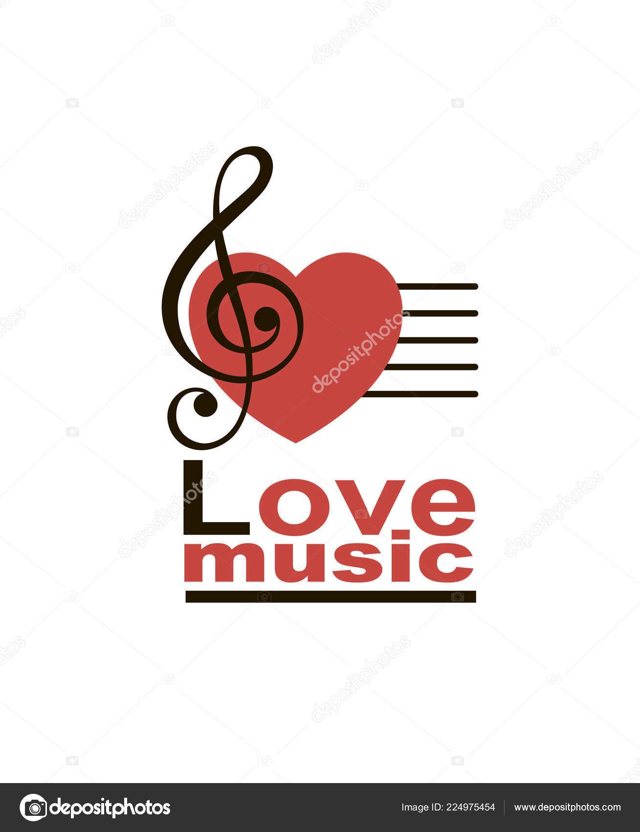 Icono Clave Sol Nota Musical Con Corazón Aislado Sobre Fondo