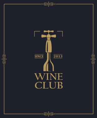 wine club emblem with bottle and corkscrew on dark background