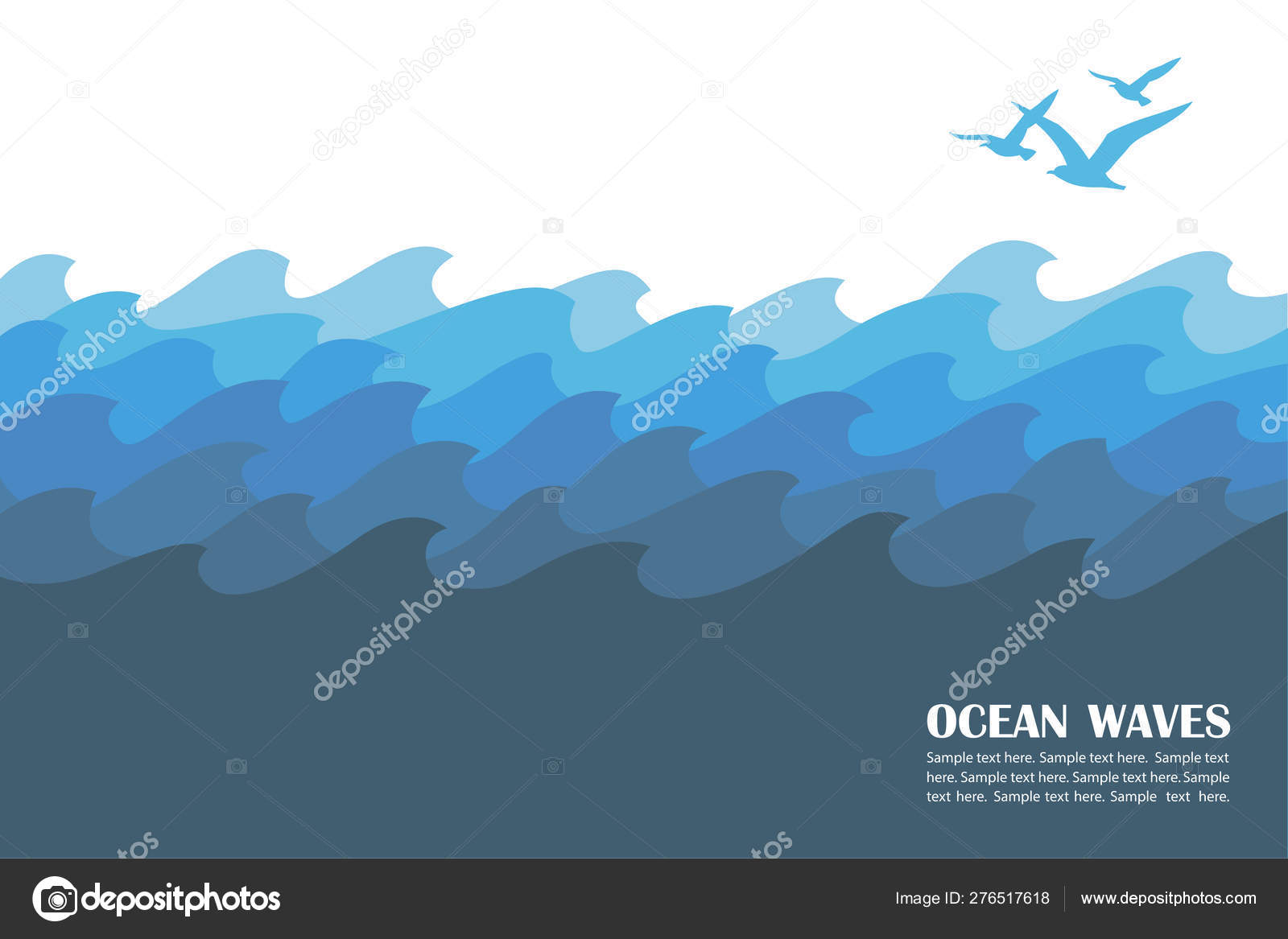 Abstract Background Blue Ocean Waves Seagulls Stock Vector