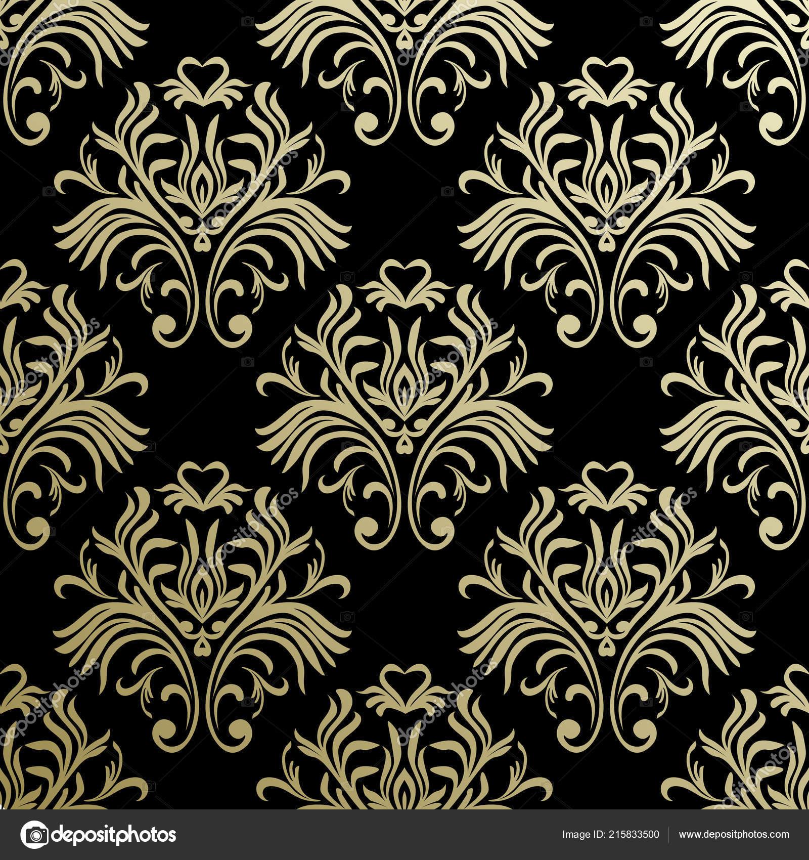 Vintage Nahtlose Muster Floral Verzierte Tapete Dunkle Vektor Damast